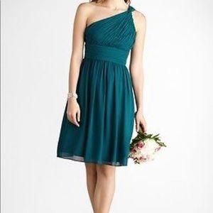 Teal Donna Morgan one shoulder chiffon dress